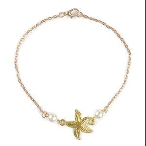 Jewelry - Boho Pearl & Starfish Ankle Bracelet / Anklet NWT